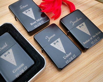 7f53597ed8b6 Wedding Personalised Lighters Gift Engraved Usher Best Man Groomsman Groom  Groomsmen Father of the Bride lighter favour favours presents