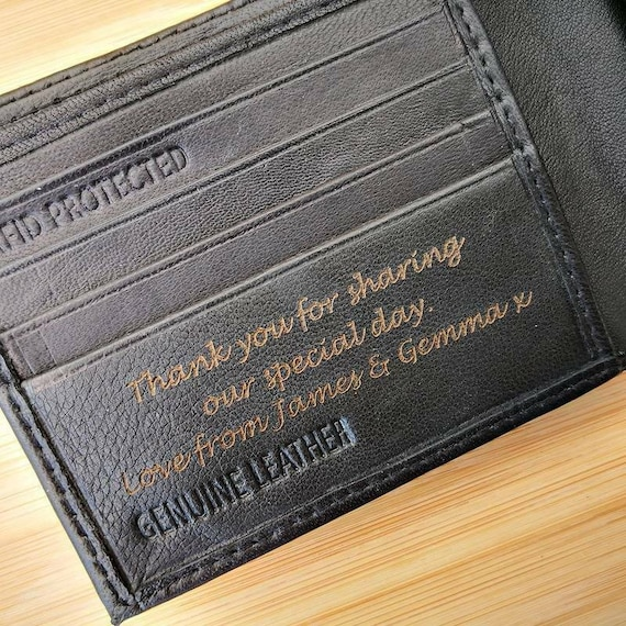 GIFT BOX Genuine Leather Laser Engraved Coin Pocket Pouch Xmas Mens Son Daddy Dads Brothers Grandad Personalised Christmas Wallet