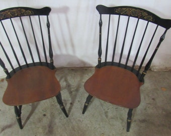 Pair Hitchcock Chairs Signed Farmhouse Stenciled