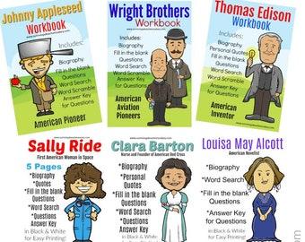 11 Famous People in History Workbook - Presidents, Inventors, Women, Scientist - INSTANT DOWNLOAD - Printable School Teachers Homeschool