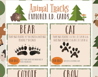 Instant Download- Science Nature Printable: Animal Tracks ID Guide Flashcards for Learning, Scavenger Hunt, and School