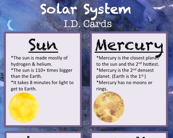 Printable Solar System ID Flash Cards Instant Download - Educational Science Manipulative