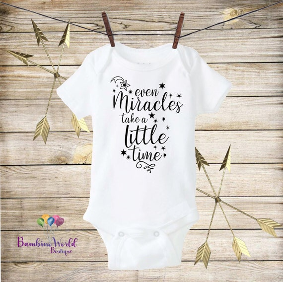 Even Miracles Take A Little Time Pregnancy Announcement Baby Bodysuit