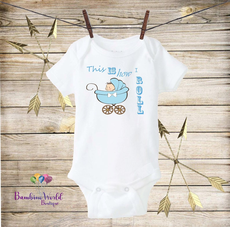 Unique Baby Onesie\u00ae This Is How I Roll Blue Stroller Onesie\u00ae Cute Onesie\u00ae Boho Baby Onesie\u00ae Cute Baby Bodysuit Coming home outfit Boy