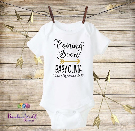 Newborn Outfit Surprise Pregnancy Pregnant Momma Pregnancy Announcement Bodysuit Pregnant Baby Coming Soon Coming Soon Bodysuit