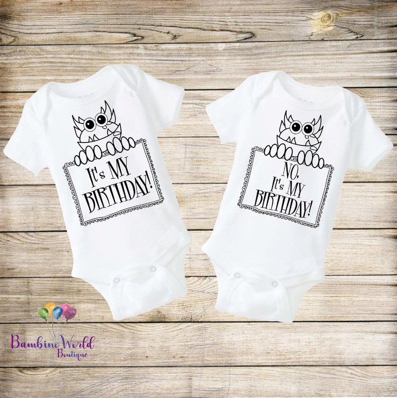 9a48d7da8 Twin Birthday Onesies® Twin Baby Outfits Twin Onesies Twin   Etsy