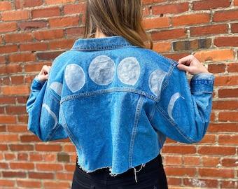 Moon Phase - Hand Painted - Cropped Wrangler Denim Jacket - Size XL