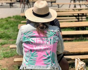 Steeny Vibes - The Morning Toast - Painted Denim Jacket Size Medium Large