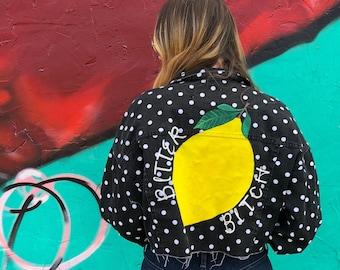 Bitter Bitch - Lemon - Polka Dot - Hand Painted - UpCycled -Cropped - Denim Jacket - M/L