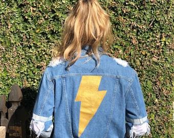 Detroit - Lightening Bolt - Hand Painted - Upcycled - Denim Jacket - M/L