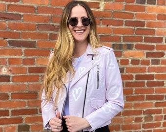 Blush Vegan Leather - Levis Moto Jacket - Hand Painted White Hearts - Women's Size Large