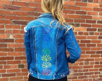 Lotus Chakras - Hand Painted Denim Jacket - Women's Size Medium