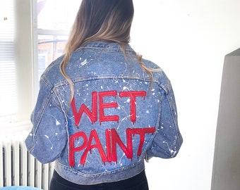 Wet Paint - Hand Painted Up-Cycled Denim Jacket - Medium