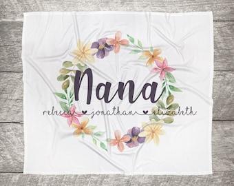 Customized Mom, Nana, Grandma, Kids Names Blanket - Floral Wreath