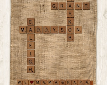 Family Names Crossword for Scrabble Lovers on a Minky Plush or Sherpa Cozy Blanket with Faux-Burlap design
