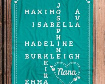 Crossword Blanket - Teal - Personalized Grandparent Sherpa Blanket with Grandchildren's Names - soft sherpa blanket