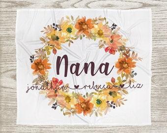 Customized Mom, Nana, Grandma, Kids Names Blanket - Autumn Fall Wreath