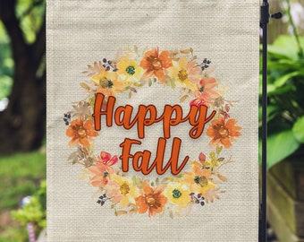 """Fall Wreath Garden Flag, Customizable – 12"""" x 18"""" Double-Sided, Autumn Flag, Welcome Flag, Fall Decor, Garden Flag, Custom Message Flag"""
