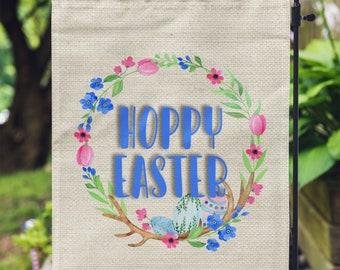 Hoppy Easter Flag – Easter Garden Flag, Garden Flag, Easter Decorations, Garden Decor