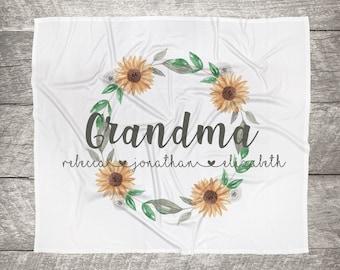 Customized Mom, Nana, Grandma, Kids Names Blanket - Sunflower Wreath