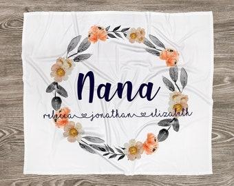 Customized Mom, Nana, Grandma, Kids Names Blanket - Autumn Florals