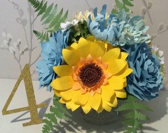 Summer Sunflower and Blues Paper Flower Arrangement
