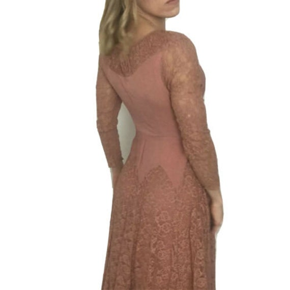 Vintage 40s Delicate Lace Dress Rose Blush Pink Ar
