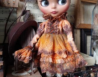 Blythe vintage dress/Blythe doll clothing Victorian/Pullip doll clothes