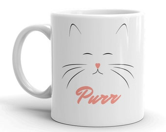 Cat Mug, Cute Mug, Cat Lover Gift, 21st Birthday Gift for Her, Office Desk Accessories, Kitten, Coworker Gift, Kawaii Cat, Funny Coffee Mugs