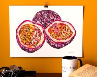 Art Print | Textile Art | Passion Fruit | Free Motion Embroidery