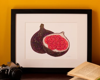 Art Print | Textile Art | Fig | Free Motion Embroidery