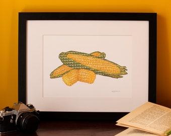 Art Print | Textile Art | Corn | Free Motion Embroidery