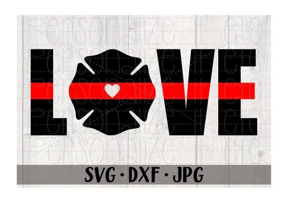 Red Line Love Svg File Firefighter Love Svg Instant Download Etsy