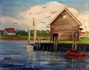 """Set of 4 Cape Cod Oil Paintings 4"""" x 5"""""""