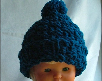 Toddler Knit Hat,  Teal, Popcorn Stitch