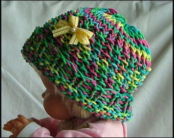 Toddler Beanie, Hand-Knit with Bow, either Lilac or Rainbow