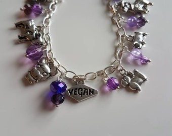 Vegan charm bracelet (purple)