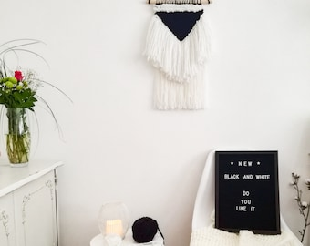 Woven wall hanging, Woven wall art, Woven tapestry wall hanging, Wall tapestry weaving, Black & White tapestry