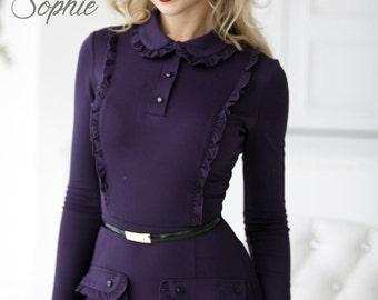 9d88c064e47395 Klassieke paarse schede jurk