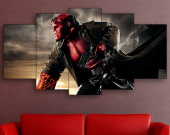 Hellboy canvas, Hellboy print, Hellboy wall art