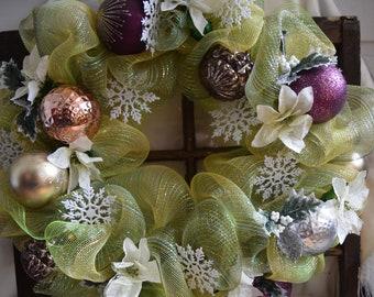 Handmade Mesh Christmas wreath