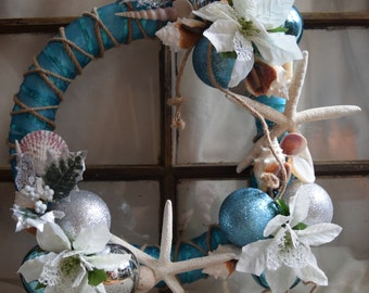 Handmade Seashell wreath (christmas by the sea)