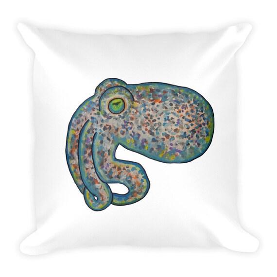Aquarelle créature coussin calmar carré oreiller océan thème oreiller mer Decor oreiller seiche
