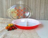 Vintage Pyrex Bowl Divided Casserole Dish Friendship Red with Bird 12 1 2 quot x 8 1 2 quot 474-B 1960 39 s 1 1 2 Qt. Collectable