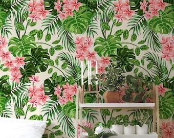 Helle Hawaii abnehmbare Tapete, Aquarell Wand Wandbild, Blätter Wand Dekor, wieder verwendbar, abnehmbar, neu positionierbare MAF114
