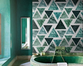 Watercolor Triangles wall decor, Green triangles removable wallpaper, Green and black wall decor, Peel and stick, Removable, Reusable MAF016