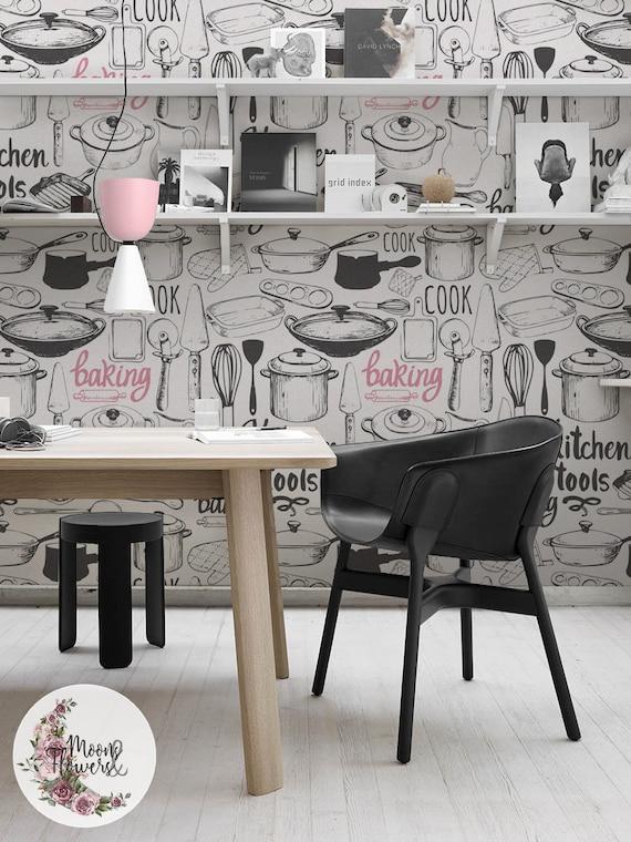 Kitchen Set Removable Wallpaper Pots Wall Mural Pans Wall Etsy