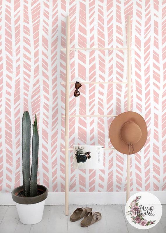 Chevrons Pastel Papier Peint Amovible Geometrique Murale Etsy