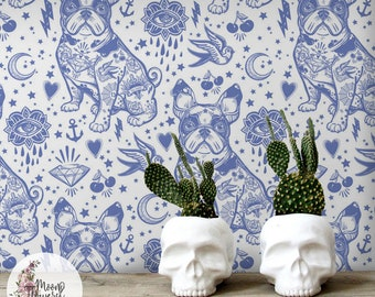 Pin Up Frenchy wall decor, French Bulldog removable wallpaper, Blue dogs wall decor, Peel and stick, Repositionable, Reusable MAF011