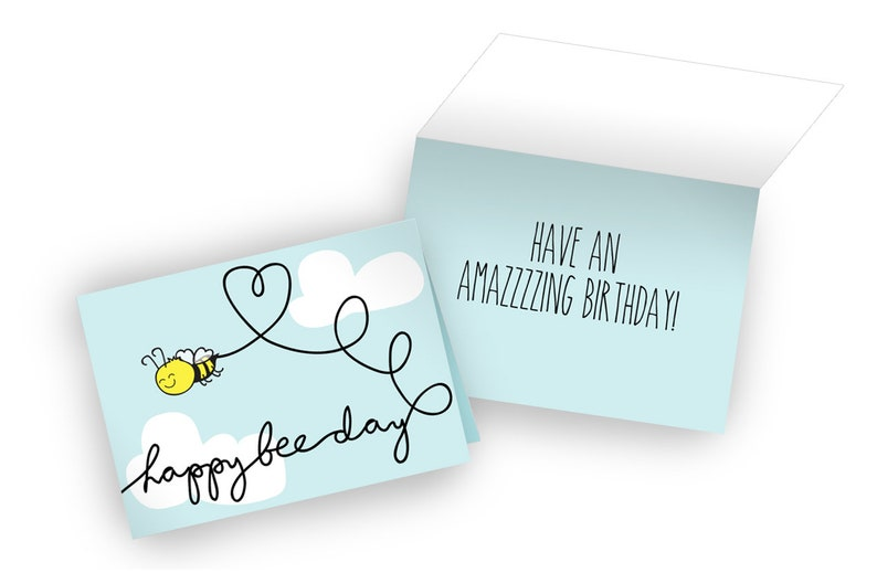 s Single Card or Box of 8 Cards Happy Bee-Day Birthday Card